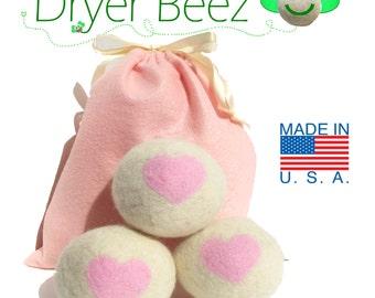 Dryer Sheet Alternative -  Wool Dryer Balls - Pink Hearts Gift Set of 3 Premiun USA wool fleece needle-felted sweet baby designs