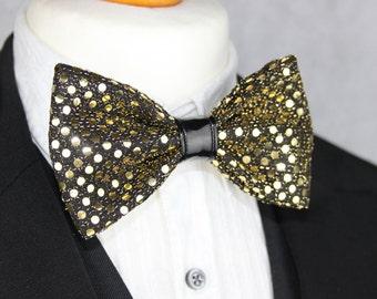 Golden Sequin Bow Tie