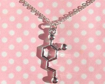 Silver Dopamine pendant necklace