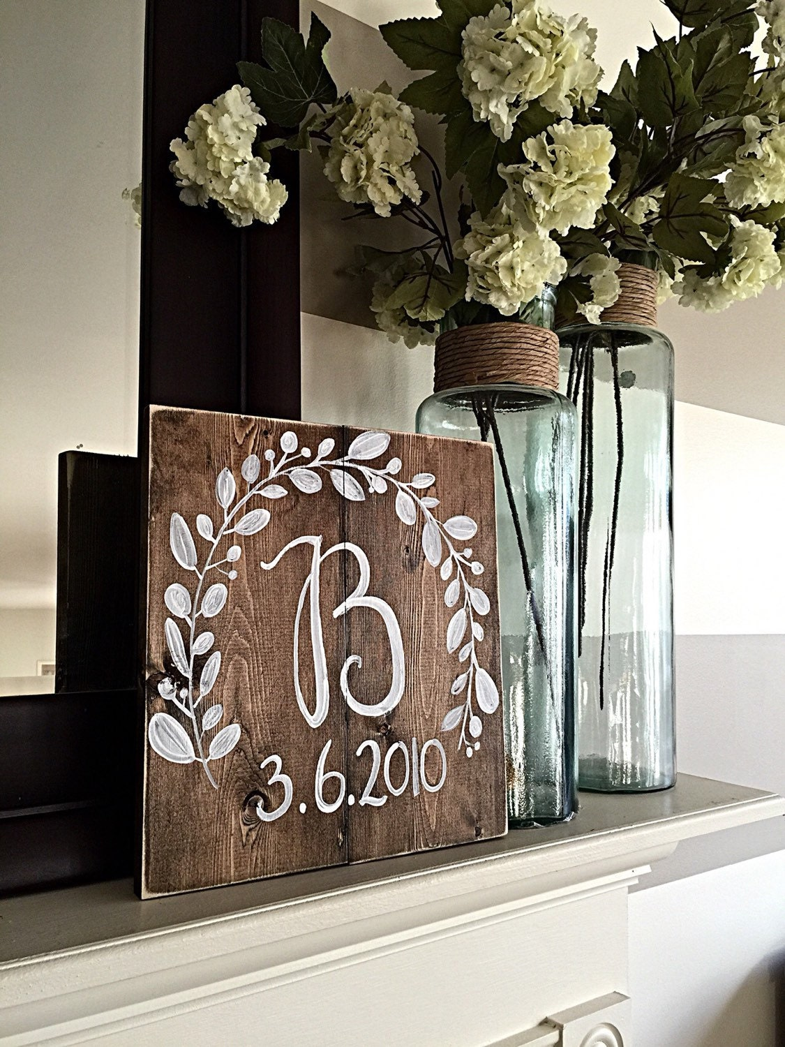Rustic home decor monogram wedding decor wood wedding for Initial decorations for home