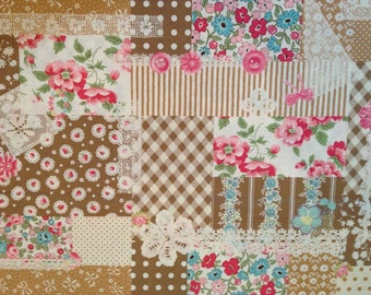 Fat Quarter of Atsuko Matsuyama 30's Collection, Autumn Collage - Flower, Ribbon and Lace fabric by Yuwa, Made in Japan.