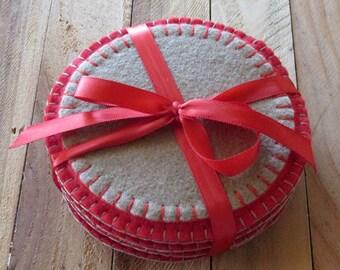 Round Wool Felt Coasters Set in Red & Tan