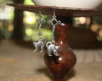 Silver Halloween Cat Earrings