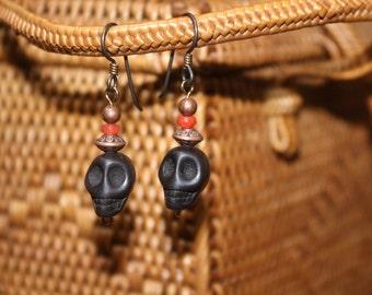 Black and Orange Agate Skull Earrings