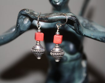 Red Coral Cube Earrings