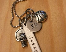 Hand Stamped Personalized Basketball Necklace - Basketball Mom - Girls basketball team gift