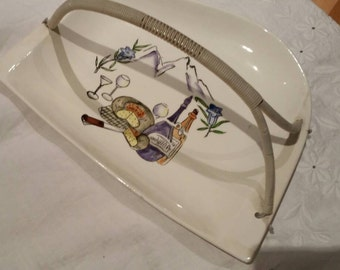 Vintage 1960's Porcelain Tray With Plastic Handle