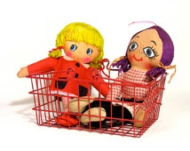 Metal Red Shopping Basket-Vintage Toy-1980-To Play Shop-Kids Room-Home Decor