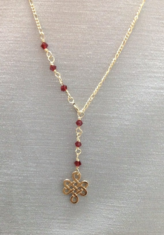 endless knot pendant necklace 14k gold filled by