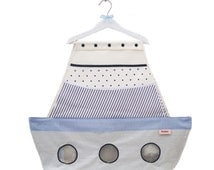 Boat shaped storage organizer with Six pockets, Blue and White changing table rack, diapers stacker, nursery decor, shower gift, baby shower