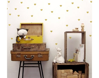 Gold Heart Wall Decals, Nursery Heart Wall decals, Gold Heart vinyl Wall Stickers
