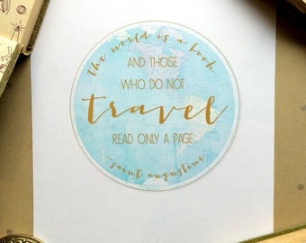 Travel Quote print | The World is a Book quote poster | Saint Augustine Home Decor