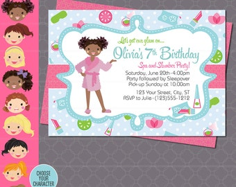 Spa Party Invitation - Sleepover Makeover Spa Day Invitation - Slumber Party - Spa Birthday Party - Girl Birthday Invitation - Diva