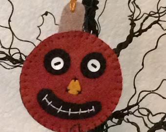 Hand sewn wool felt Fall Halloween pumpkin ornament decoration