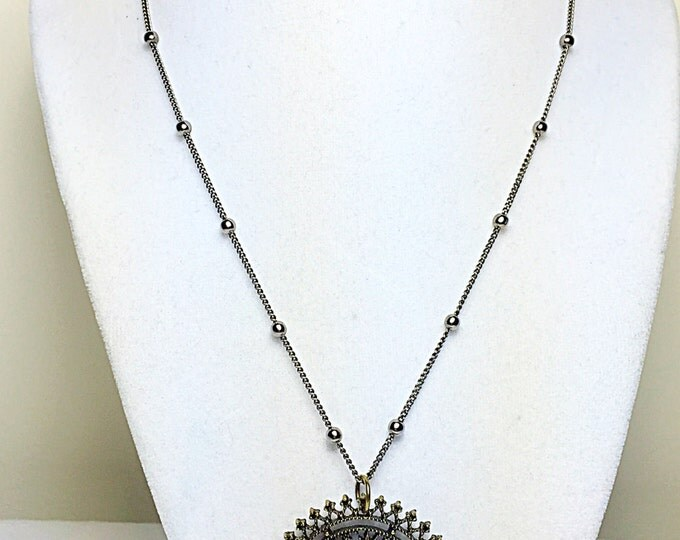 Brass circle pendant necklace, brass necklace