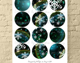 Dance of the Cosmic Snowflakes / 2.5 Inch Round Winter Digital Collage Sheet for Jewelry and Crafts / Printable Circles // Instant Download!