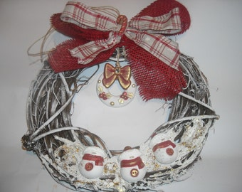 Country Christmas garland enriched with ribbons and chalks, OOAK. Article discounted