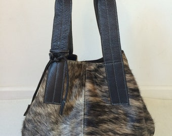 Cowhide  Purse Unique Piece Cow Hide Handbag. Leather Bag.