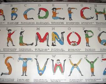 Rare, Vintage Uncut Printers Roll, Comical Hotch Potch Alphabet, Letters, Typography, Childrens Decor