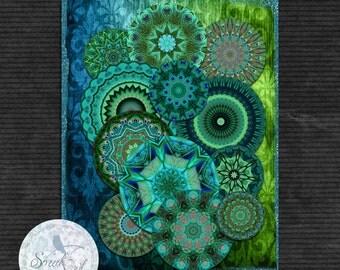 ONE DOLLAR SALE - Mandalas, Digital Collage Sheet, Coasters, Craft Supplies, Bottle Cap, Collage Sheet, Resin Jewelry, Fridge Magnets