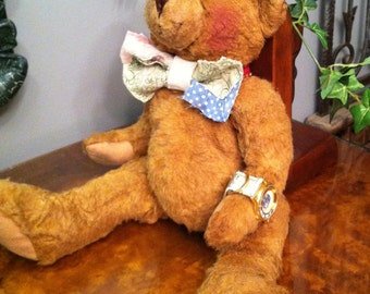 Eco-Friendly Upcycled Artisan Teddy Bear w Vintage Watch. EarthWatch George. FREE US Shipping!