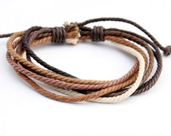 Handmade Hemp Cord Wrist Bracelet 6 Shades of Brown Hemp Braclet  HB-1