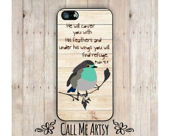 iPhone Case, Psalm 91:4, Christian iPhone Case, Scripture iPhone Case, Bird iPhone Case, Bible Verse iPhone Case, Scripture iPhone 6 Case
