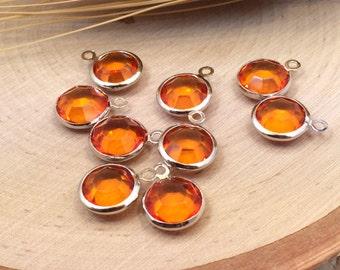 Glass Pendant, Glass Circle Pendant, Bezel Pendant, Glass Charm, Birthstone Pendant, Dangle, Silver Plated, Orange, LARGER Size
