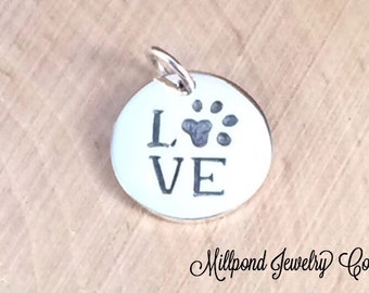 Love Paw Print Charm, Paw Print Charm, Animal Lover Charm, Animal Charm, Dog Lover Charm, Cat Lover Charm, Sterling Silver, PS0125