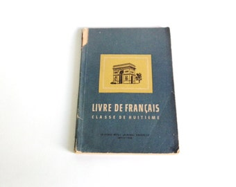 Vintage Textbook on French 1955, Livre de Francais, Old Book, Collectibles