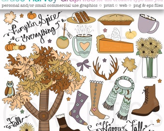 Fall Clipart Hand Drawn Thanksgiving Clipart Set, EPS and PNG files, small commerical or personal use