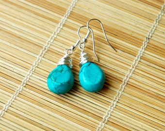 Stunning Wire Wrapped Green Turquoise Briolette Bead Earrings - December Birthstone