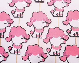 Poodle Cupcake Toppers Pink  Baby Shower 1st Birthday Paris Bling Rhinestone Bow