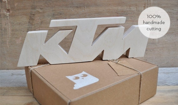 Ktm motorcycle wood clasped letters wall decor hand cut for Decoration ktm