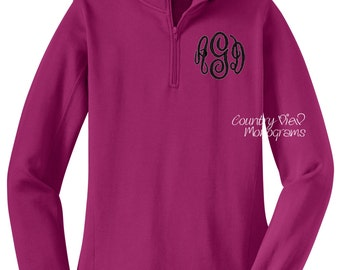Monogrammed Womens Quarter Zip Sweatshirt-Raspberry with Black-- zip up sweatshirt fleece jacket with several color options