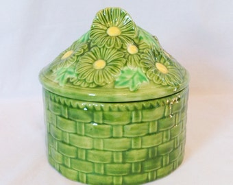 Summery Green and Yellow Flower Cookie Jar
