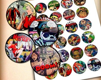Horror Comics Circle Printable Images 1 inch, 30mm, 1.5 inch Digital Collage Sheet - Instant download