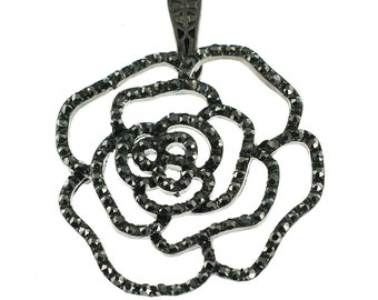Black Rhinestone Rose Pendant