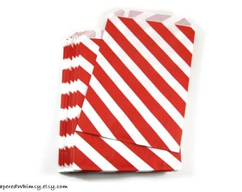 24 Red Stripe Paper Bags | Stripe Party Bag | Red Stripe Paper Bag | Party Favor Bag | Christmas Paper Bag | Paper Party Bag