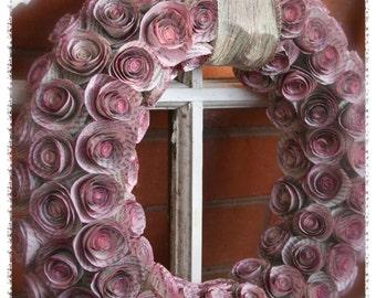"""Magenta Paper Rosette Wreath 14"""""""