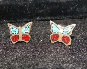 Sterling Silver Butterfly Earrings with Turquoise and Red Coral Chips