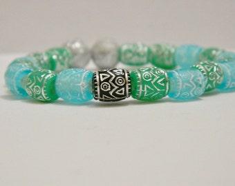 Tribal Aztec Blue Plastic Bead Stretch Bracelet