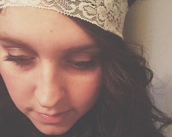 Ivory Lace Headband // stretch headband