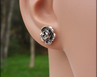 Sterling silver rose earrings, Rose post earrings, Flower earrings