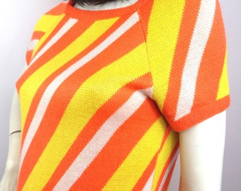 Vintage 1960s bubblegum striped MOD mini dress by Silverworm /  pop disco twiggy // 8 / 10
