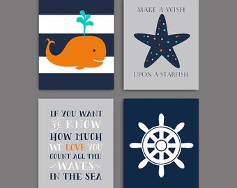Tangerine Nautical Nursery Art, Whale nursery art print, navy and orange nautical Wall decor, baby boy decor set of 4, DIGITAL DOwNLOAD