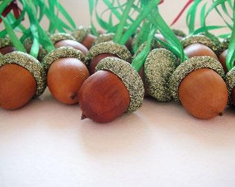 Glittered Acorn Ornament. Rustic Decoration, Woodland, Wedding, Wild Forest