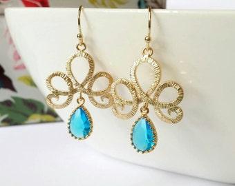 Cobalt blue earrings, blue gold earrings, gold teardrop earrings, blue teardrop earrings, blue dangle earring, wedding jewelry, gift for her