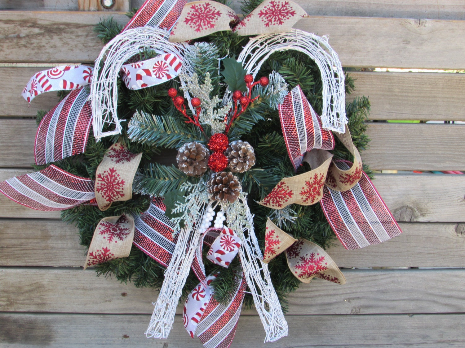 "22"" Christmas Candy Cane Wreath- Christmas Greenery Wreath- Pinecone Greenery Wreath- Deco Mesh Christmas Wreath- Winter Wreath- Candy Cane"