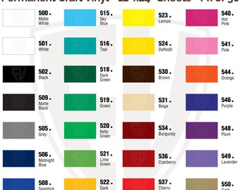 You Pick the Colors - 30 sheets - 12x24 Permanent Adhesive Glossy Vinyl